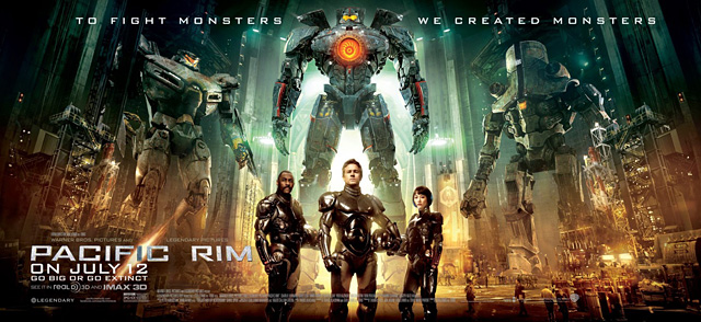 The cast and robots of Pacific Rim