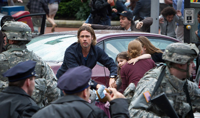 Brad Pitt and family run from the zombies in World War Z