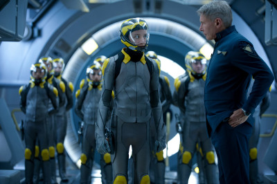 Harrison Ford as Colonel Graff and Asa Butterfield as Ender Wiggin